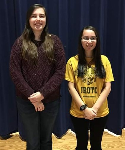 Poetry Out Loud Champion Tia Walkup (left) and runner-up Gianna Ortiz (right)